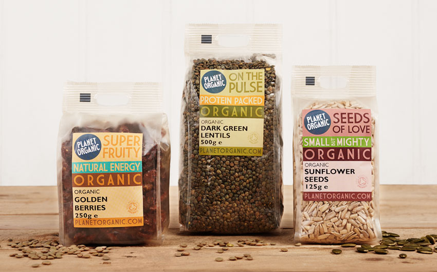 Planet Organic brand packaging