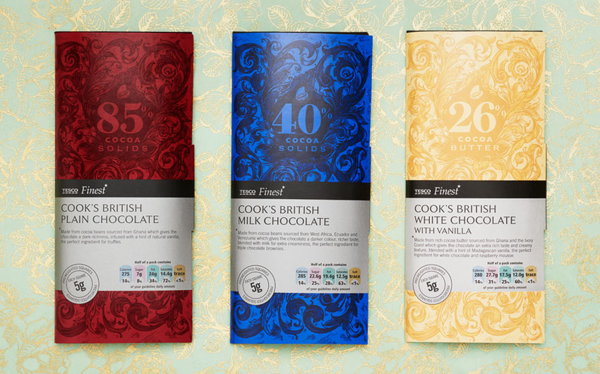 Tesco Finest Chocolate packaging